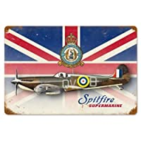 Past Time Signs V707 Spitfire Union Jack Aviation Vintage Metal Sign