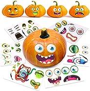 Halloween Pumpkin Decorating Stickers, 12 Large Sheets - Jack-o-Lantern Decoration Kit, 26 Total DIY Face Stic