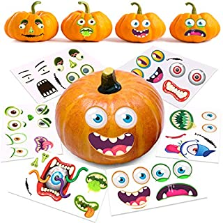 "Halloween Pumpkin Decorating Stickers, 12 Large Sheets - Jack-o-Lantern Decoration Kit, 26 Total DIY Face Stickers, Cute Halloween Decor Idea, Treats, Gifts, and Crafts for Kids, 6"" x 9"""