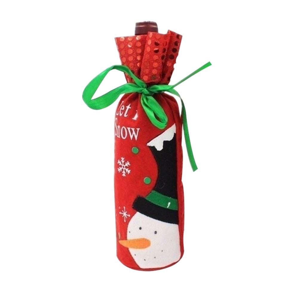 Steellwingsf Babbo Natale pupazzo di neve con bottiglia di vino a mano artigianale sacchetto regalo di Natale tabella Decor Xmas Gift