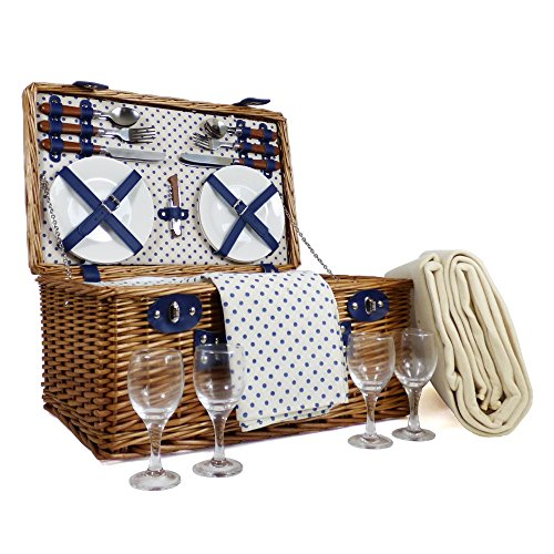 Windsor 4 Person Wicker Picnic Basket Set - Gift ideas for Valentines, him, her, Birthday, Wedding, Anniversary, Corporate, Business, Thank you, Outdoor, Family, Vacation