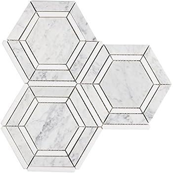 Diflart Carrra White Thassos Hexagon Marble Mosaic Tile
