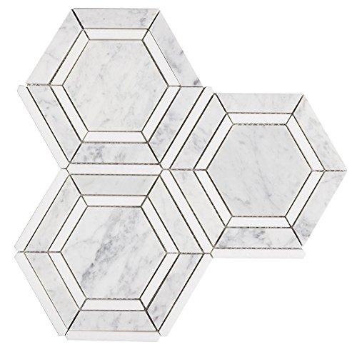 Diflat Hex Appeal Italy Bianco Carrara White Thassos Greek Marble Mosaic Hexagon Tile, 3 Sheets/Box
