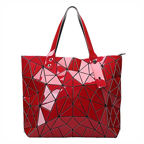 Red Croc Pattern (New Fashion Bag Women Casual Tote Fold Handbag Laser Geometric Designer Handbags Ladies Shoulder Bag High Quality (Red)