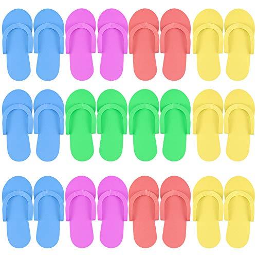 Hysagtek 12 Pairs Shower Sand Pedicure Beach Light Weight Foam Flip Flops, Sandals Random Color -