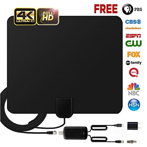 (HD TV Antenna, LAKEER Indoor HDTV 4K Antenna 1080P 80 Miles Range with 2018 Newest Type Switch Console Amplifier Signal Booster, USB Power Supply And 16.4FT Coax Cable (Updated 2018 New Version))