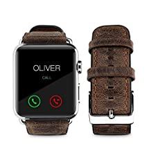top4cus Genuine Leather Replacement iwatch Band with Secure Metal Clasp Buckle for Apple Watch, iwatch band for Apple (42mm, Old-school Brown)