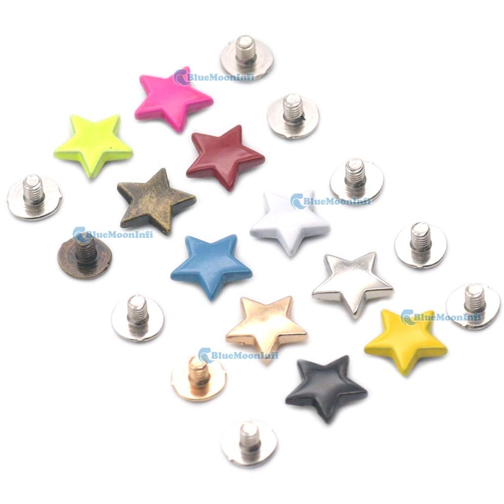 Leather Rivets Set 5/15/50/120 Sets Alloy Star Shape Rivet Stud Button Screw Bag Clothes Shoe Punk DIY Fittings Leather Craft