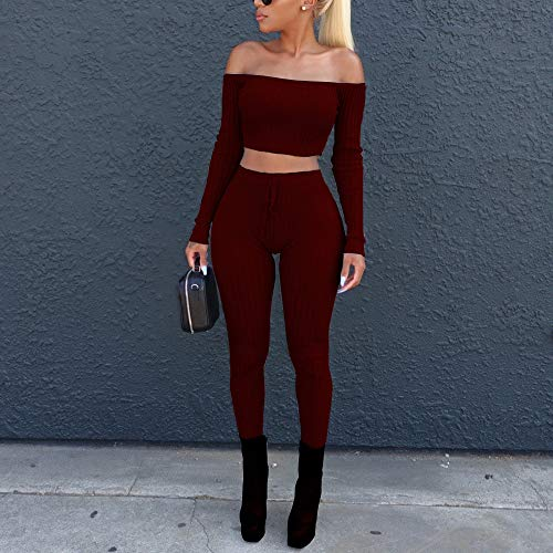 2 Piece Industrial Net - Womens Sexy 2 Piece Outfits Long Sleeve Off Shoulder Ribbed Crop Tops Belted Bodycon Stretch Long Pants Soft Breathable Summer Casual Suits