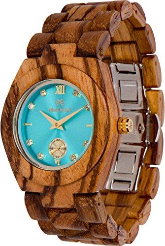 Nixon Wood Watch - Maui Kool Wooden Watch Hana Collection for Women Analog Wood Watch Bamboo Gift Box (B1 - Zebra Turquoise)