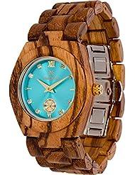 Maui Kool Wooden Watch Hana Collection For Women Analog Wood Watch Bamboo Gift Box (B1 - Zebra Turquoise)