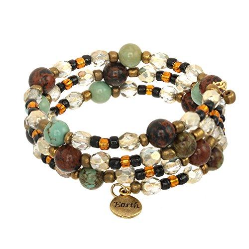 (Elements Triple Coil Gemstone & Crystal Beaded Bracelets (Earth Element))