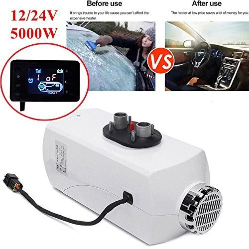 WMN_TRULYSTEP Aluminum Alloy 5000W 12/24V Air Diesel Heater Planar Auto Car Trucks Motor Boats Bus Parking,Adjustable Time,Liquid Crystal Display,Speed Hot,Low Fuel Consumption,Work in Low ()