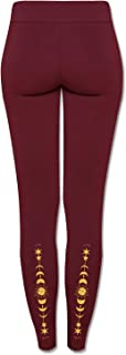 product image for Soul Flower Women's We All Shine On Organic Cotton Leggings, Burgundy Ladies Full Length Stretchy Long Fitted Yoga Pants