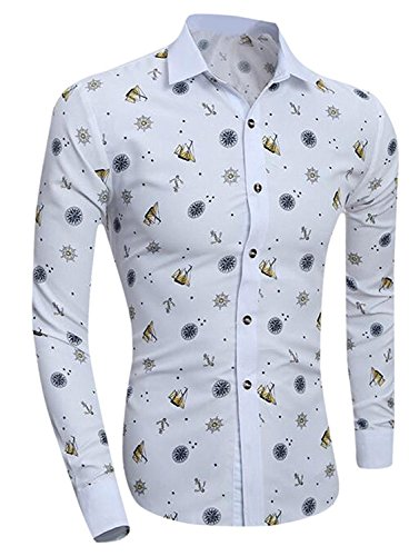 Labaqiangj Men Button Down Floral Fashion Long-Sleeve Western Shirt 1US X-S=China M (Morph Suit Price)