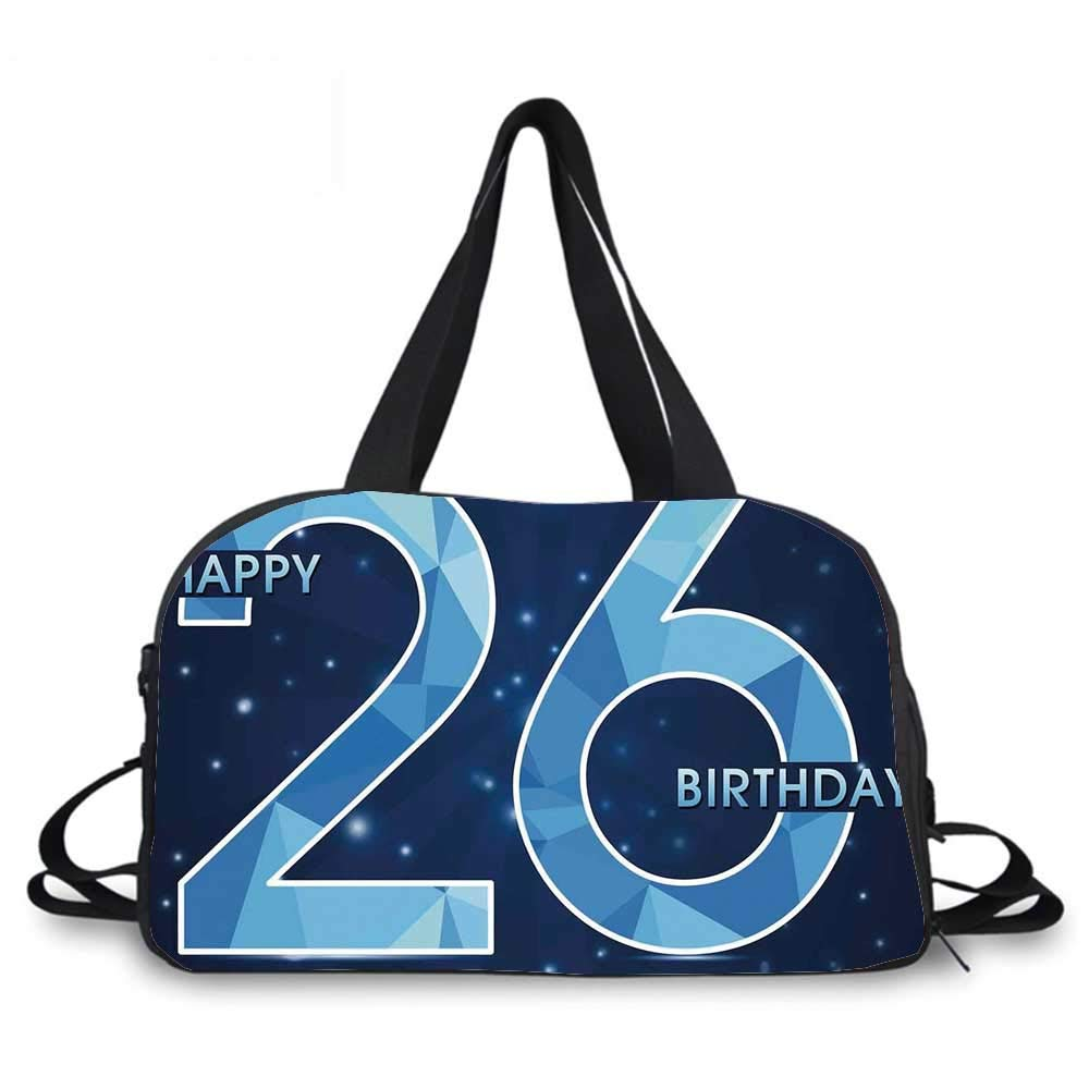 26th Birthday Decorations Personality Travel Bag,Digital Geometric Polygon Fractal Style Wishes Age Display for Travel Airport,One_Size