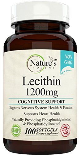 Nature's Potent - Lecithin 1200mg, Non-GMO Supplement from Soy Lecithin, 100 Softgels