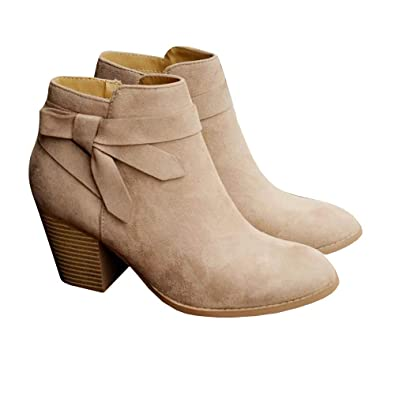 62327c61e Fashare Womens Fall Booties Chunky Heel Short Ankle Boots Bow Tie Inside  Zipper Shoes Beige