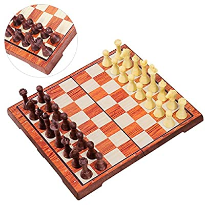 """iBaseToy Magnetic Chess Set 2 in 1 Chess Checkers Set for Adults kids Traditional Chess Game Set Folding Chess Board – 14"""" x 12"""""""