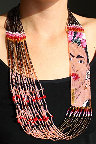 Exquisite Frida Kahlo Beaded Fair Trade Stranded Necklace Crystal Glass Hand Beaded 22