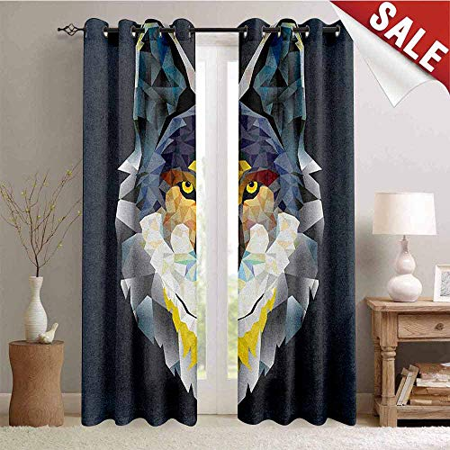 Hengshu Zoo Thermal Insulating Blackout Curtain Artsy Graphic Design of Coyote Wolf Beast Modern Portrait Geometric Colorful Print Blackout Draperies for Bedroom W108 x L96 Inch Multicolor