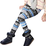 Girl's Kids Fashion Christmas Pattern Fleece Lined Thicken Pants Leggings Tights(Footless) 9-10 Years Style 9