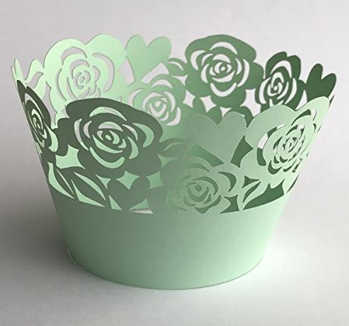 12 pcs Garden of Roses Lace Cupcake Wrappers Wrapper for Standard Size Cupcake Liners (Choose Color) (Mint Green)]()