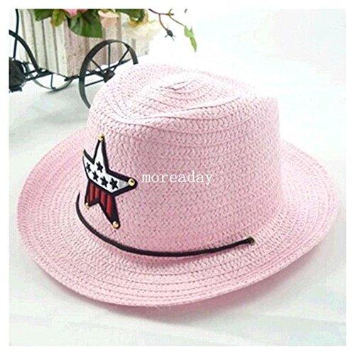 children-boys-girls-summer-sun-hat-fedora-cowboy-straw-beach-wide-brim-star-cap-colorpink