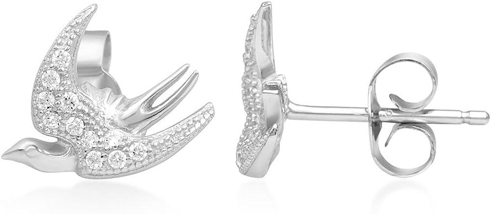 925 Sterling Silver Dove Mini Earrings