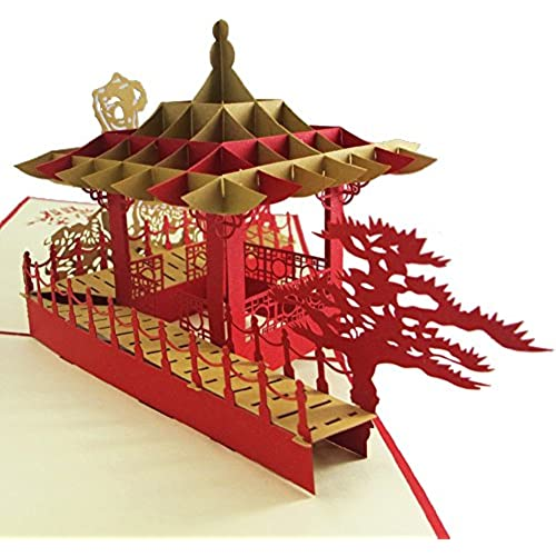 MADE4U Suzhou Gardens Kirigami Papercraft 3D Pop Up Card Anniversary Baby Birthday Easter Halloween Mother's Day New Home New Year's Thanksgiving Sales