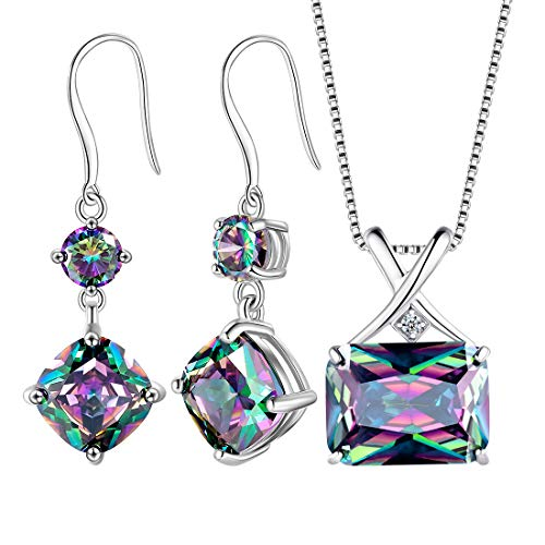 Mystic Rainbow Topaz Necklace/Earrings Sets Women 925 Sterling Silver Crystal Jewelry Sets Wedding/Anniversary Present DS0042M (Silver Jewelry Set 925)