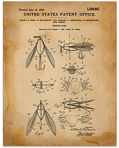 Fishing Lure Wall Art - 11 x 14 Unframed Patent Print - Great Gift for your favorite Fisherman. Wall Decor for a Lakehouse
