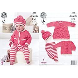 King Cole Baby Double Knitting Pattern Heart Motif Dress Sweater Leggings & Hat Set (4555) by King Cole