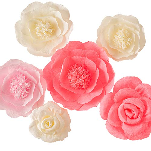 Large Pink Ivory and Watermelon Pink Crepe Paper Flowers (Set of 6), Wedding Decor, Party Decorations, Nursery Decor, Wall of Flowers,Floral Backdrop,Paper Flower Handcrafted