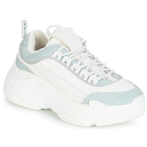 Coolway - Zapatillas de Sintético para Mujer Blanco Blanco/Gris, Color Blanco, Talla 41 EU: Amazon.es: Zapatos y complementos