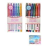 Pilot FriXion Colors Erasable Marker Bundle Set , 6 Colors Set 6C2 ( SFC-60M-6C2 ) + 6 Colors Set 6C3 ( SFC-60M-6C3 ) + Original 5 Colors Sticky Notes