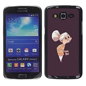 Be-Star Único Patrón Plástico Duro Fundas Cover Cubre Hard Case Cover Para Samsung Galaxy Grand 2 II / SM-G7102 / SM-G7105 ( Granny Old Lady Painting Art Clutch Grey Hair )