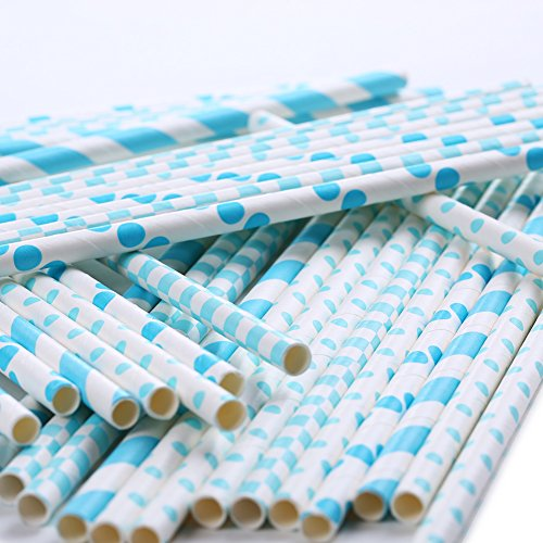 ZOOYOO Paper Straw 104pc For Parties,Birthdays,Weddings,Baby Showers And Celebrations (Blue) (Champagne Color Paper Plates)