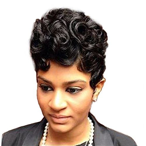Women Short Curly Brazilian Virgin Human Hair (Natural Spiral Curls, Black) - Human Hair Wigs -Short with Capless Wig for Daily& Wedding Wear 8 Inches