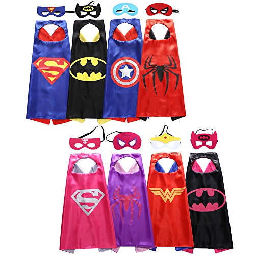 Lazu Superhero Dress Up Costumes 8 Satin Capes with Felt Masks for both Girls and Boys - Kids Costumes Capes
