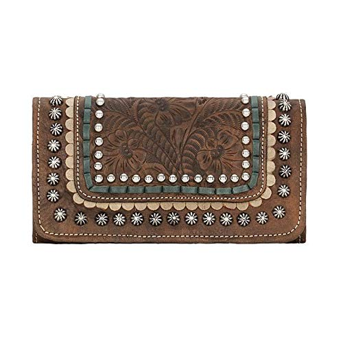 - American West Leather Ladies' Tri-Fold French Wallet (Blue Ridge - Charcoal Brown)