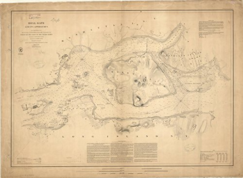 Historic Map Reproductions - Historic Map | Hell Gate, New York 1853 | Hell Gate and its approaches | Antique Vintage Reproduction 44in x 33in