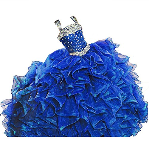 WZY Big Girls Beaded Long Ruffled Party Ball Gown Girls Pageant Dresses 16 US Blue by WZY