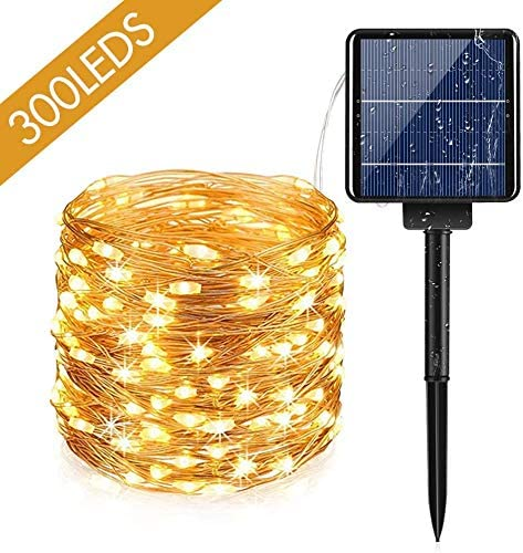 Solar String Lights, AUOPLUS 300 LED Solar Powered Fairy Light, 99 FT, 8 Modes Waterproof String Light, Decorative Hanging Lights for Bedroom Outdoor Indoor Garden Backyard Patio Home Christmas