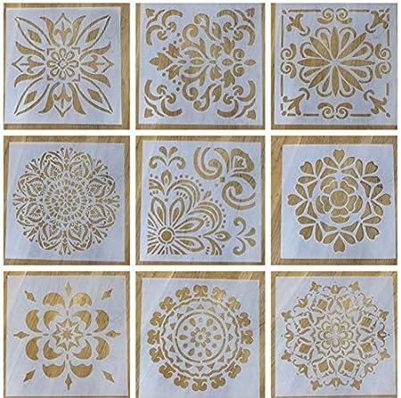 per pittura fai da te Set di 3 stencil riutilizzabili con mandala rocce e pareti decorazione su legno 30,5 x 30,5 cm aerografo LOCOLO