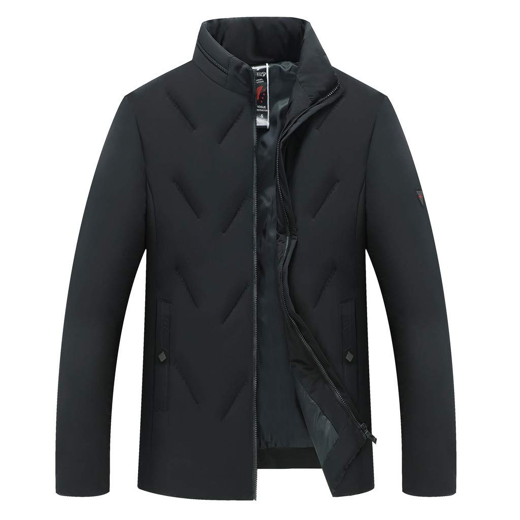 Fashion Down Alternative Coat Mens Padded Jacket Autumn Winter Casual Pocket Button Cotton Outwear Tops Beautyfine