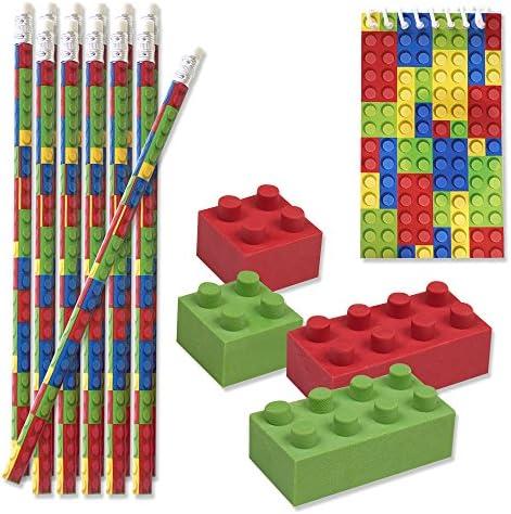 48 Bulk Pack Colorful Building Block Brick Party Favor Supplies Theme Decorations 12 Pencils 12 Mini Notepads 24 Erasers for Kids Girls Boys Teens Children Birthday Carnival Teacher Classroom Rewards