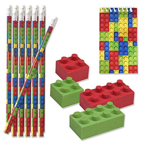 48 Bulk Pack Colorful Building Block Brick Party Favor Supplies Theme Decorations 12 Pencils 12 Mini Notepads 24 Erasers Kids Girls Boys Teens Children Birthday Carnival Teacher Classroom Rewards