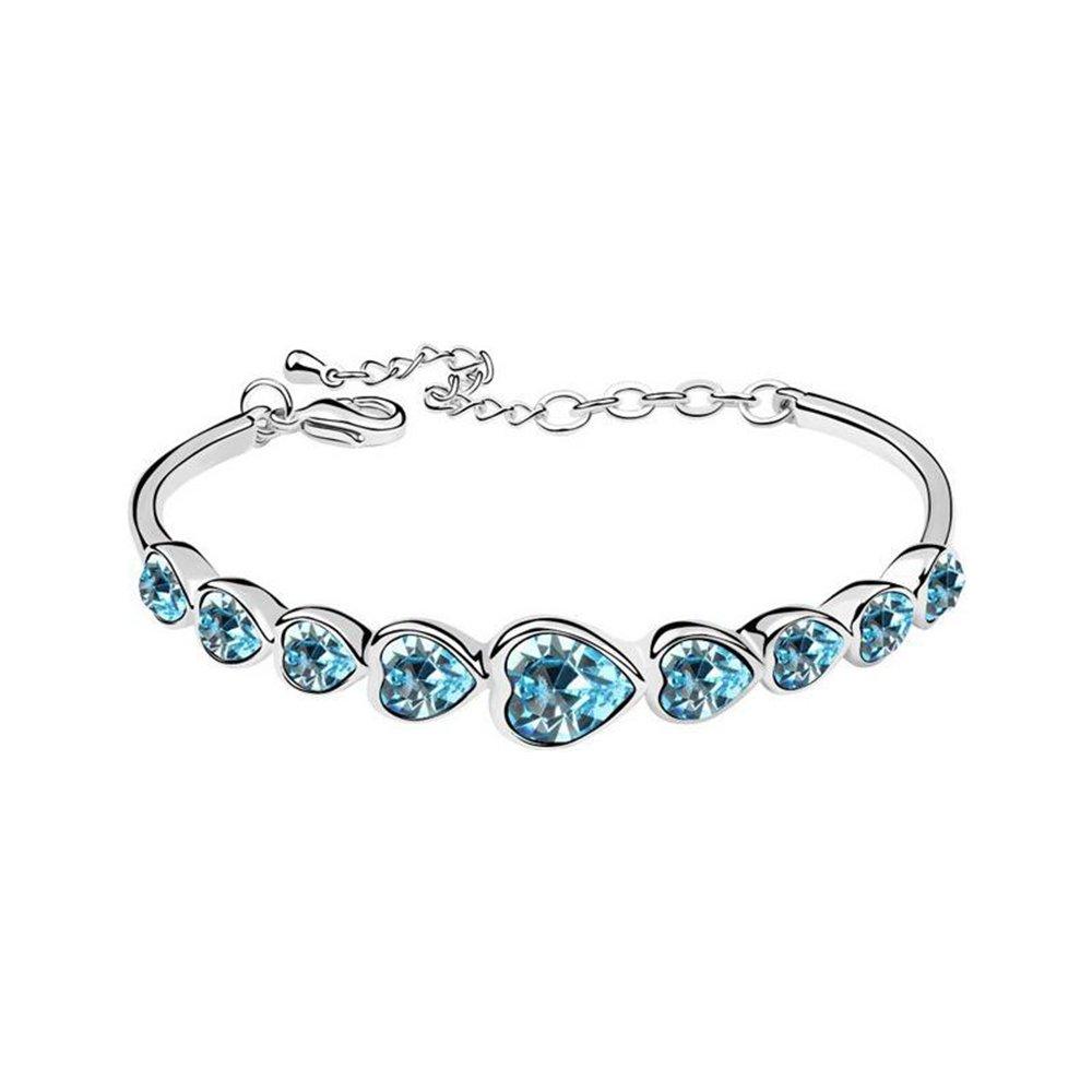 Eastlion Crystal Ladies Bracelet Fashion Heart-shaped Bracelet Creative Hand Jewelry,Blue