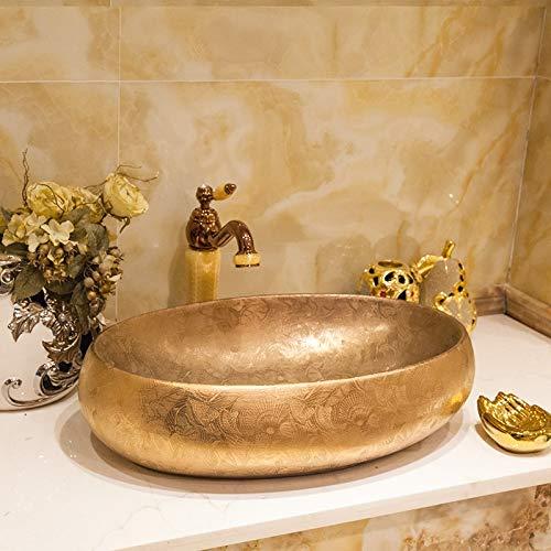 (ERGOUZI Oval European Style Chinese Washbasin, Art Ceramic Counter Washbasin Painted Bathroom Porcelain Basin Silver C Only Sink)